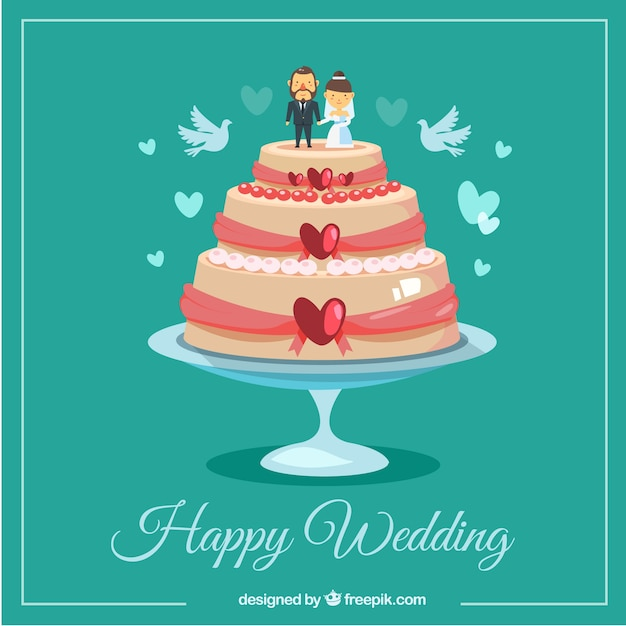 Cake Pictures Vector : Happy wedding cake Vector Free Download
