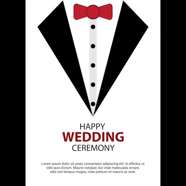 Happy Wedding card design vector  Free Vector
