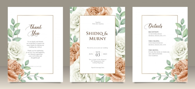 Happy wedding card floral garden invitation card marriage, details, thank you Premium Vector