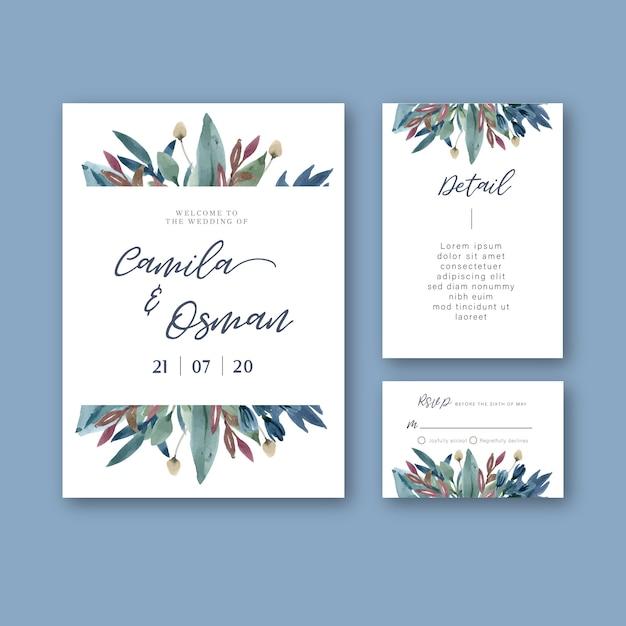 Happy wedding card floral garden invitation card marriage, rsvp detail. Free Vector