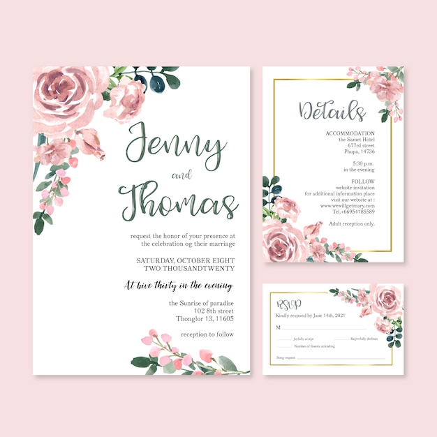 Happy wedding card floral garden invitation card marriage, rsvp detail. Free Vector