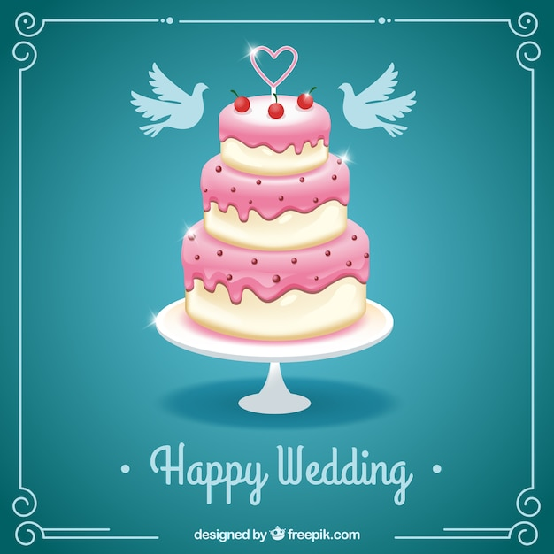 Happy Wedding Card With A Cake Vector Free Download