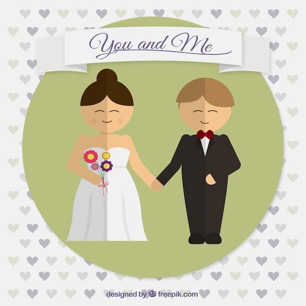 happy wedding couple in flat design vector free download