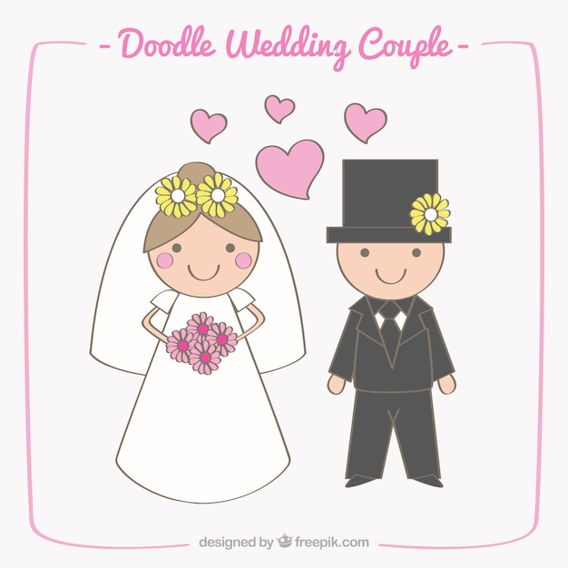 Happy wedding couple with decorative flowers Free Vector