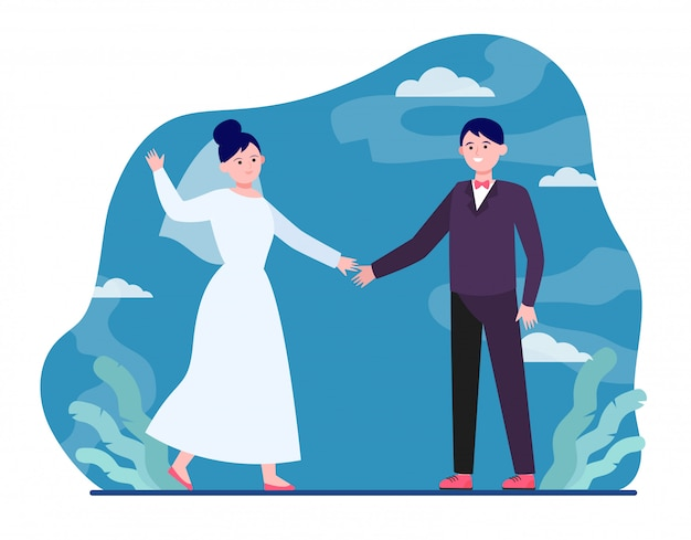 幸せな結婚式のカップル 無料ベクター