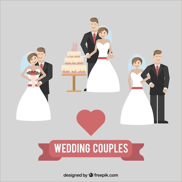 vector wedding couples happy bride groom