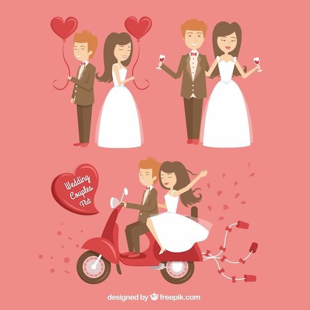 Happy wedding couples Premium Vector