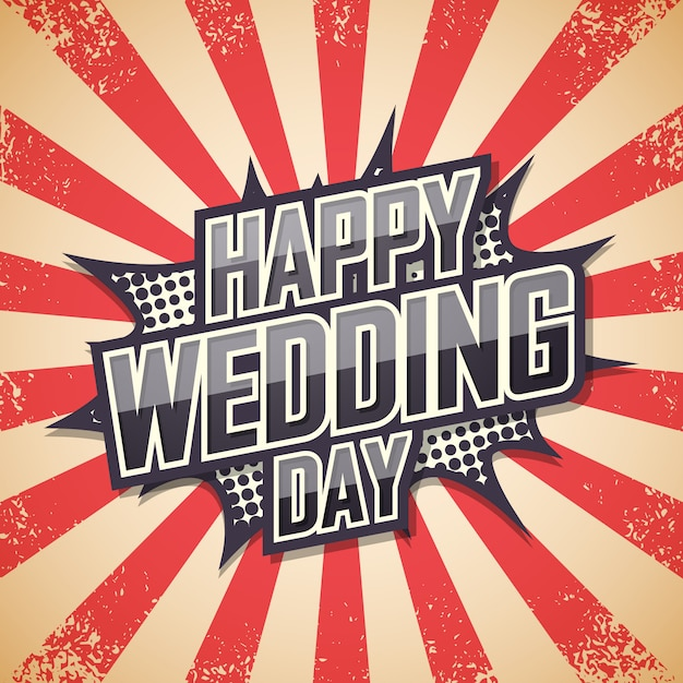 Happy wedding day, retro poster. Premium Vector