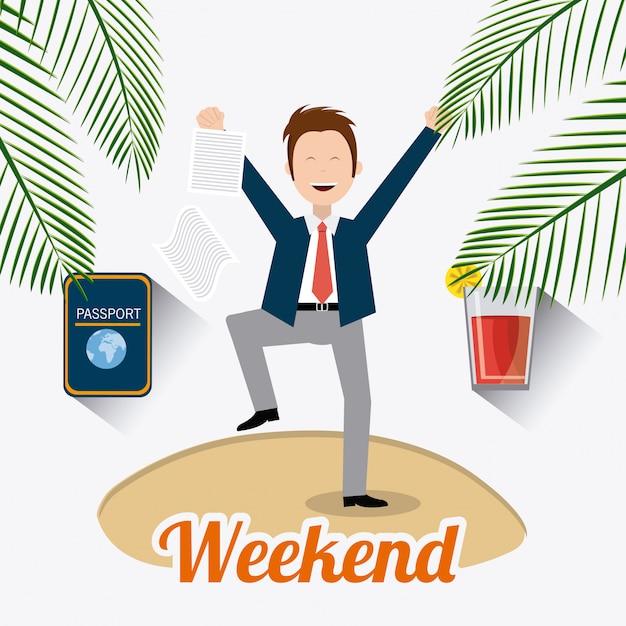 Happy weekend design. Premium Vector