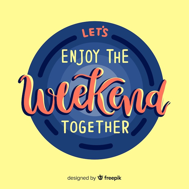 Happy weekend lettering Free Vector