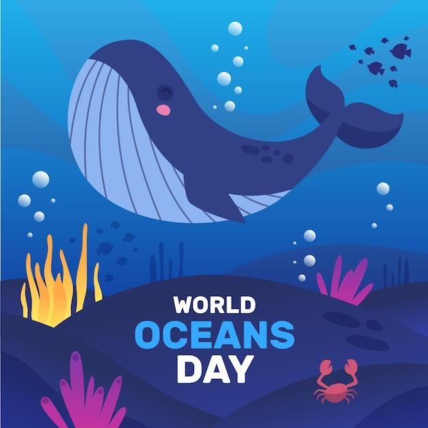 Felice giorno degli oceani di balene e alghe Vettore gratuito