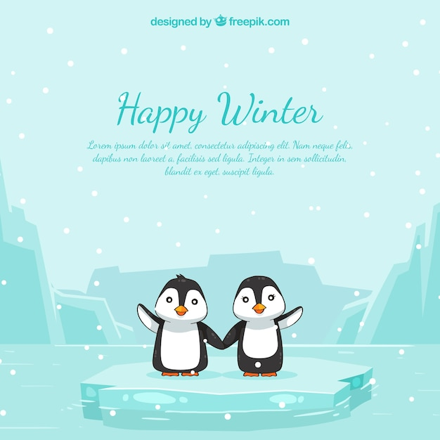 Happy winter background with penguins