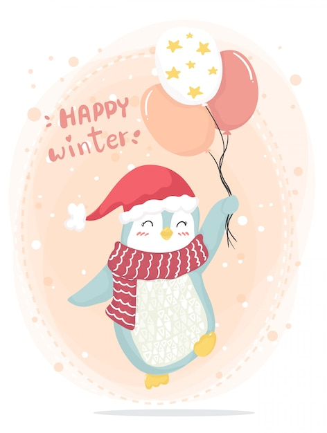 Happy winter happy pink penguin with red scarf and red hat Premium Vector