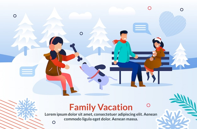 Happy winter time with family inspiration poster Premium Vector