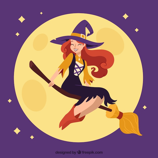 Happy witch with modern style Free Vector
