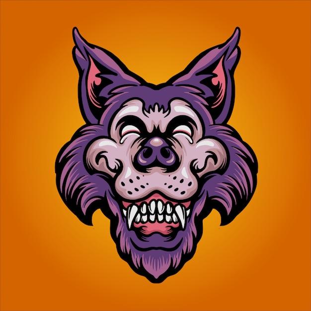 Happy wolf illustration Premium Vector