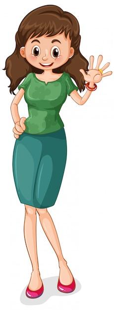 幸せな女の漫画のキャラクター 無料ベクター