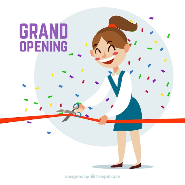 Happy woman cutting ribbon with flat design