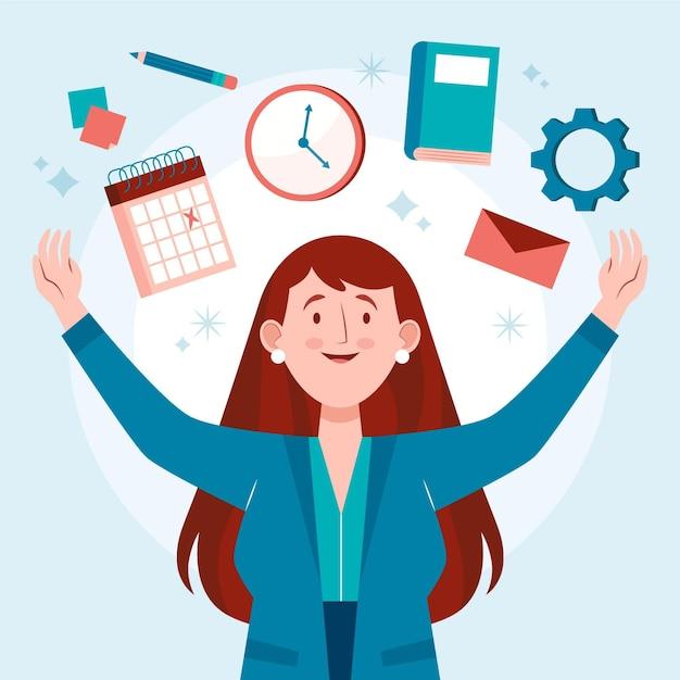 Happy woman doing multitask activities Free Vector