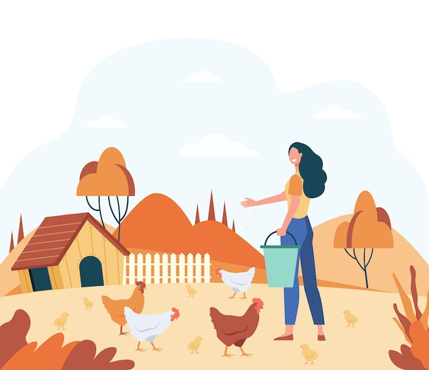 Happy woman feeding domestic birds flat vector illustration. cartoon female farmer breeding hens and roosters at country. chicken farm and agriculture concept Free Vector