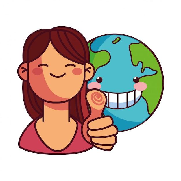 地球保全のための幸せな女 Premiumベクター
