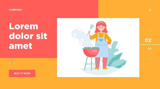 Donna felice grigliare carne barbecue. cuoco unico femminile in grembiule che tiene la spatola, cucina nel modello web giardino Vettore gratuito