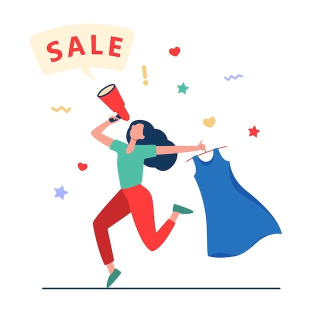 Счастливая женщина, держащая платье для продажи. одежда, громкоговоритель, девушка плоская векторная иллюстрация. покупки и продвижение Бесплатные векторы