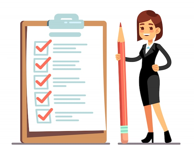 Happy woman holding pencil at giant schedule checklist with tick marks. business organization and achievements of goals vector concept Premium Vector