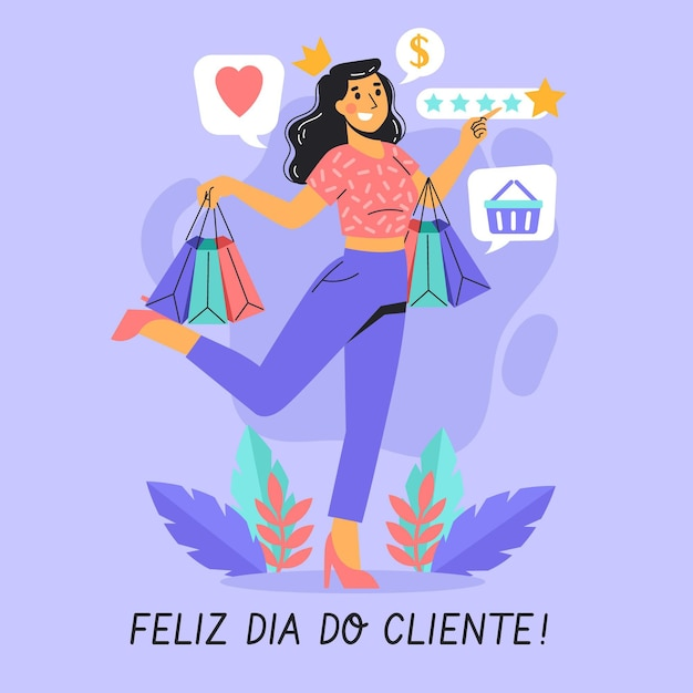 Happy woman holding shopping bagscustomer day Free Vector