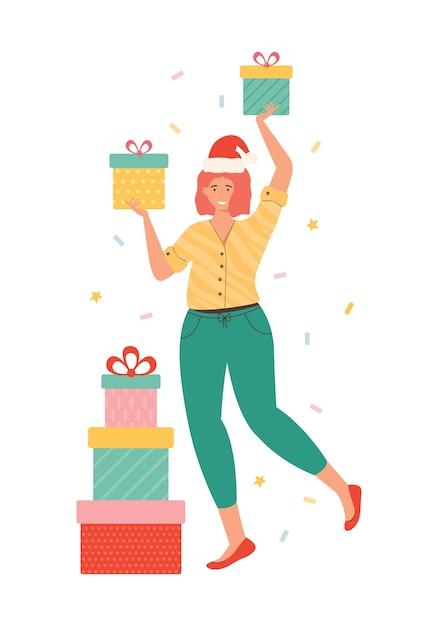 ギフトボックスの山を運ぶサンタ帽子の幸せな女性。白で隔離のプレゼントを保持している女性キャラクター。新年とクリスマスのイラスト。うれしそうな買い物中毒者。季節割引ショッピング Premiumベクター