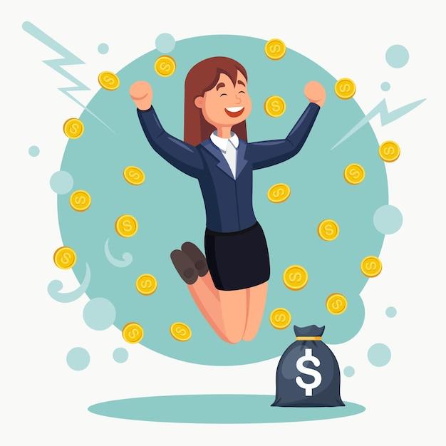 기쁨을 위해 점프하는 행복 한 여자. 비지니스는 돈 비에서 성공을 축하합니다. 여자에 떨어지는 현금 프리미엄 벡터