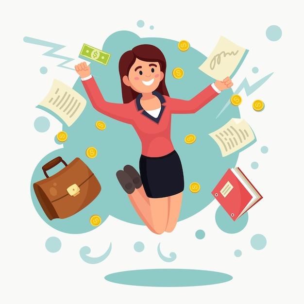 기쁨을 위해 점프하는 행복 한 여자. 사업가는 성공적인 거래를 축하합니다. 기업 노동자 미소. 돈과 무역 프리미엄 벡터