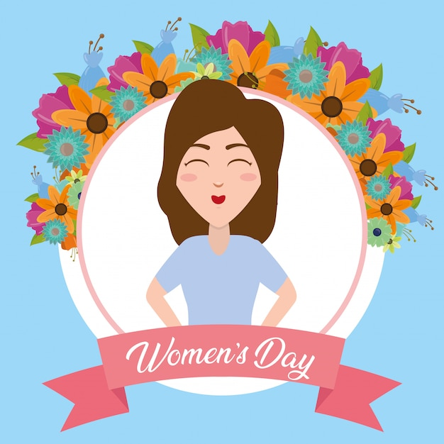 Happy woman label with flowers greeting card, happy womens day Free Vector