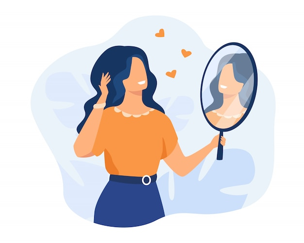 Happy woman looking at herself in mirror Free Vector