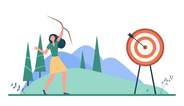 目標または目標に到達する幸せな女性。矢印、達成、目的フラットベクトルイラスト。ターゲティングとビジネス 無料ベクター