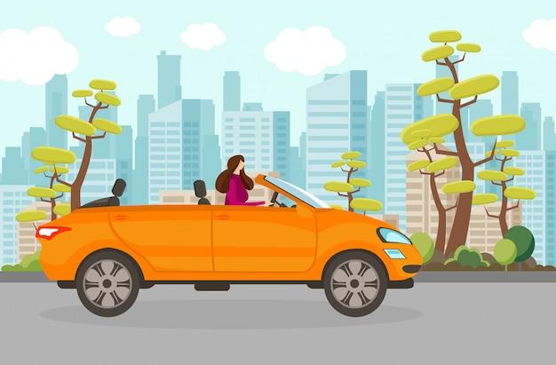 Happy woman riding cabriolet car in summer day. Premium Vector