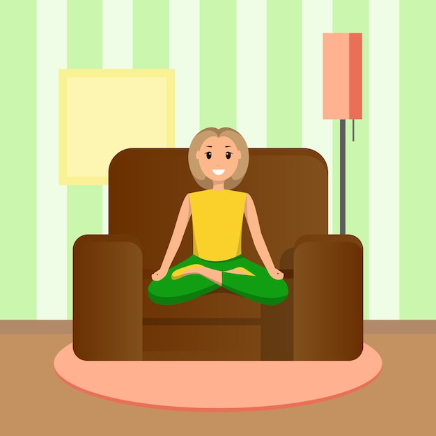 Happy woman sits lotus position, doing home sport Premium Vector