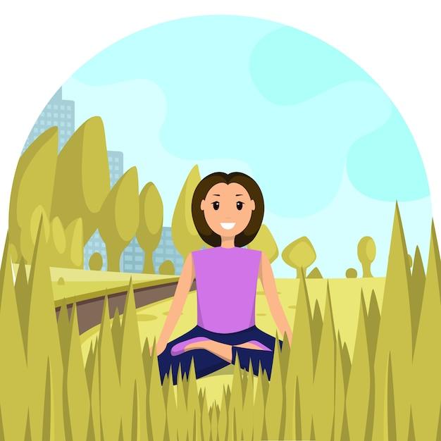 Happy woman sitting lotus position city park Premium Vector