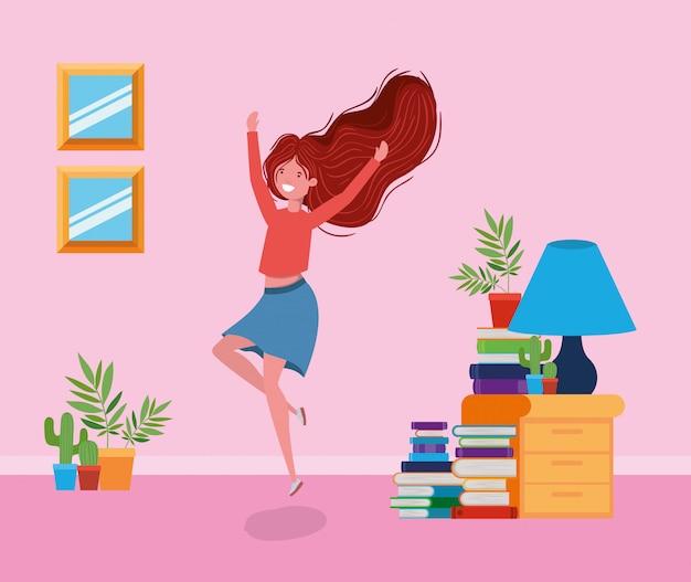 Happy woman in study room Free Vector