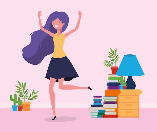 Happy woman in study room Free Vector
