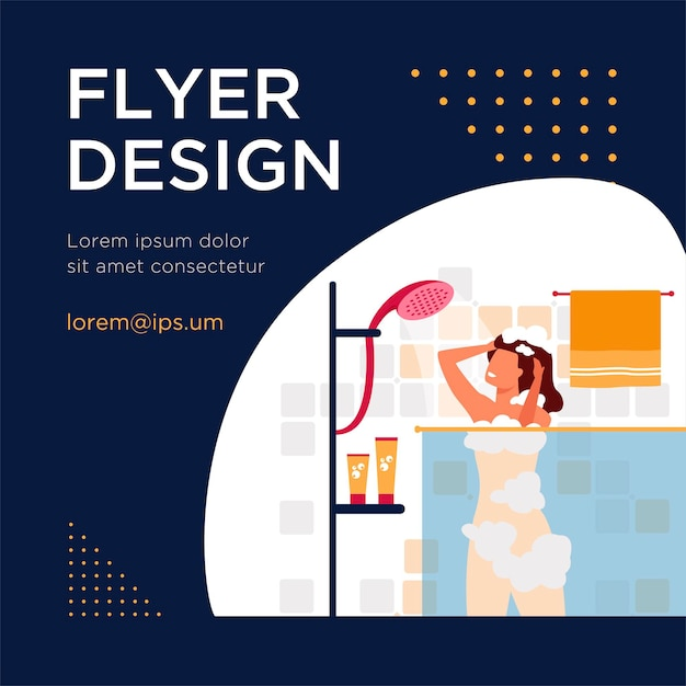 Happy woman taking shower or bath flat flyer template Free Vector