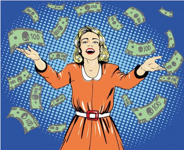 Happy woman throw money.  illustration in retro pop art style. speech bubble. Premium Vector