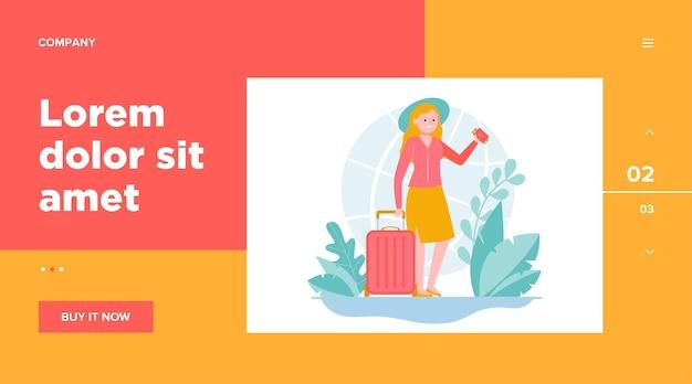 Счастливая женщина, путешествующая в другую страну. веб-шаблон билета, сумки, путешествия Бесплатные векторы