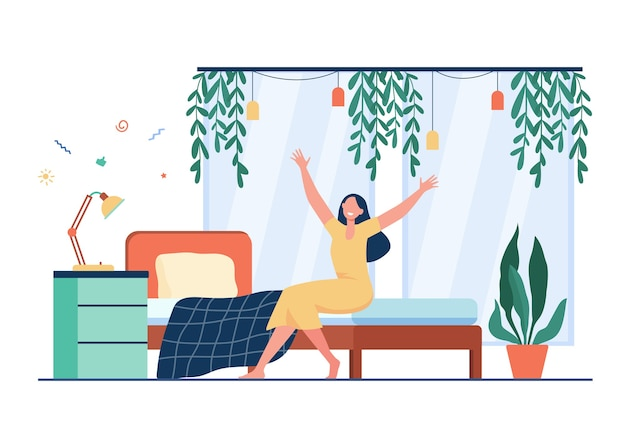 Happy woman waking up in morning. person sitting on bed and stretching arms. Free Vector