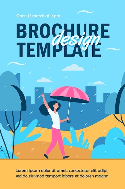 Happy woman walking in rainy day with umbrella isolated flyer template Free Vector