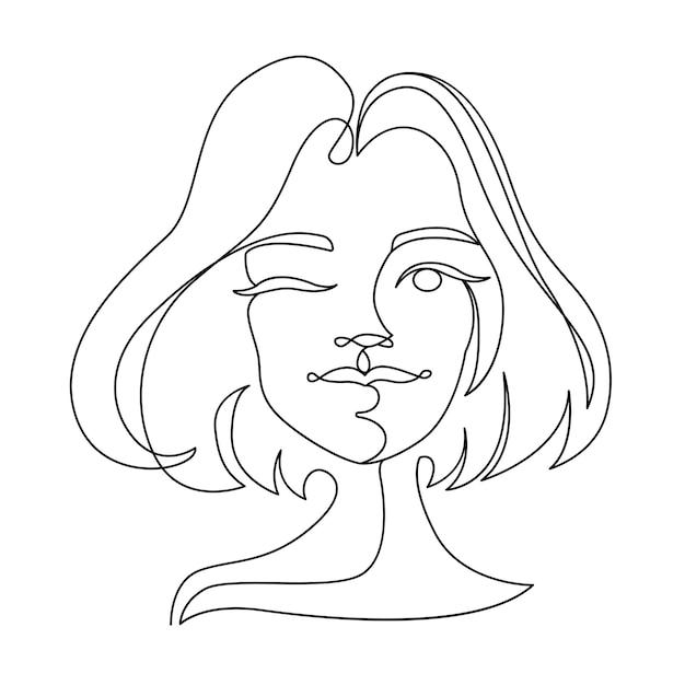 행복 한 여자 윙크 한 라인 아트 초상화. 즐거운 여성 표정. 손으로 그려 선형 여성 실루엣. 프리미엄 벡터