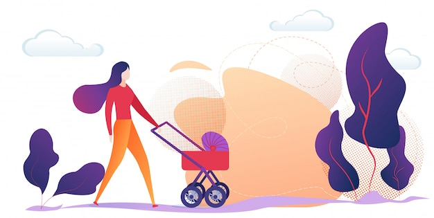 Happy woman with child carriage in city park. Premium Vector