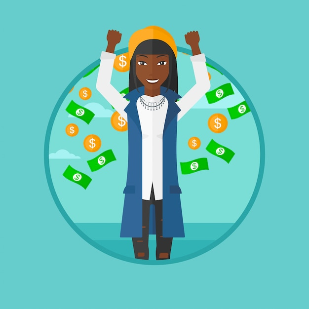 Happy woman with  flying money. Premium Vector