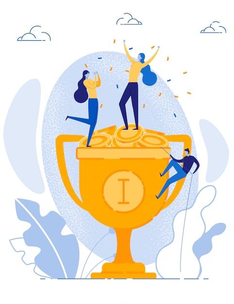 経済的な成功を祝う幸せな女性の勝利 Premiumベクター