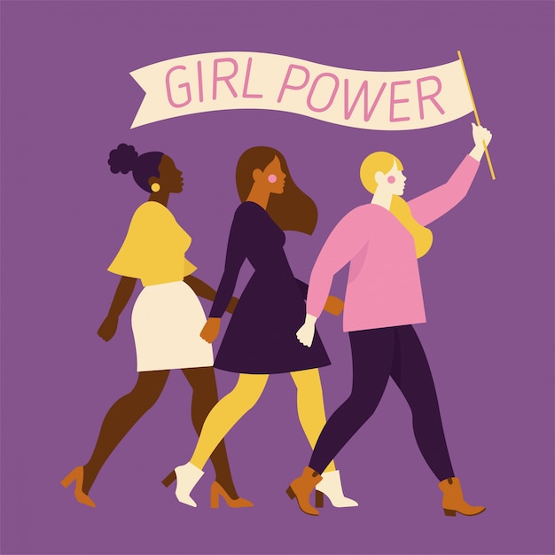 Happy women or girls standing together and holding hands. group of female friends, union of feminists, sisterhood. flat cartoon characters isolated . colorful  illustration. Premium Vector